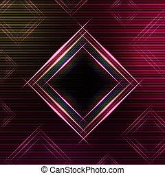 摘要, 紫色的背景, 由于, 發光, 多种顏色, 正方形