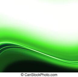 摘要, 绿色的背景, 波浪