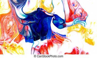 摘要, 美麗, ......的, 藝術, 墨水, 畫, 爆炸, 鮮艷, 幻想, 傳播