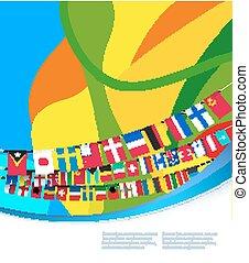 摘要, 色彩丰富, 模式, 带, 旗, 在中, world., 矢量, 描述
