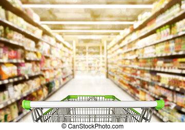 摘要, 被模糊不清, 相片, ......的, 商店, 由于, 手推車, 在, 百貨商店, bokeh, 背景