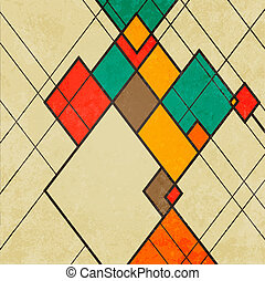 摘要, 装饰物, 菱形, 矢量, retro, 背景