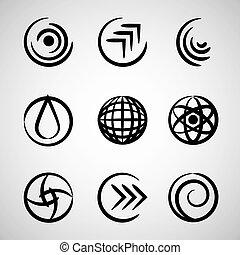 摘要, 輪, icons.
