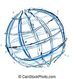 摘要, 隔离, 水, 飞溅, 白色, 全球