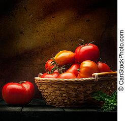 摘要, 食物背景, 蔬菜, 在上, a, 木制, 背景