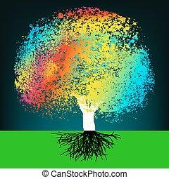 摘要, 鮮艷, 概念, 樹。, eps, 8