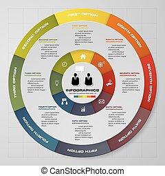 摘要, 8, 走, 馅饼图表, infographics, elements.