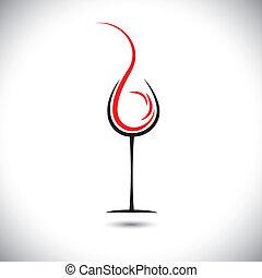摘要, pouring(splash), 插圖, 玻璃, 矢量, 酒