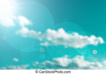 摘要, retro, 被模糊不清, bokeh, 天空