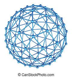 摘要, sphere., 3d, rendering.