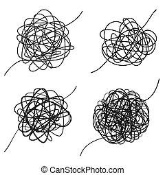 摘要, texture., 形狀。, 線, 處於混亂狀態, 被隔离, 混亂, thread., 矢量, 略述, 集合, 畫, way., 插圖, 複雜, 手, 黑色, 雜文, 背景, 白色, 混亂狀態, 球形
