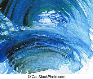 摘要, watercolor, 涂描, 背景