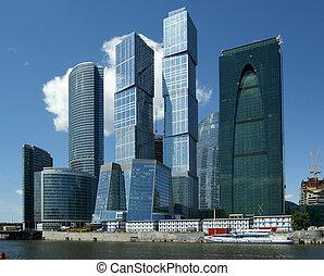 摩天楼, 在中, the, 国际的商业, 中心, (city), 莫斯科, russia