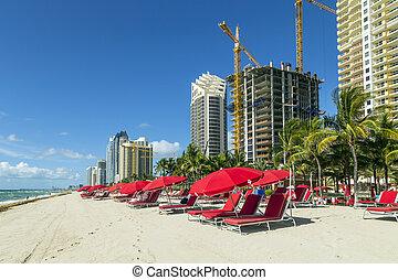 摩天樓, 在, 陽光普照, 島, 海灘, 在, 邁阿密, 佛羅里達