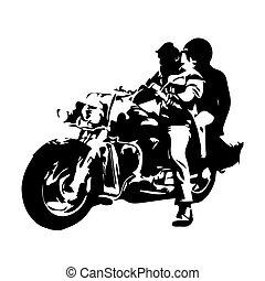 摩托車, 斷路器, 夫婦, 上, 摩托車, 矢量, 圖畫