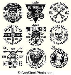 摩托車, 集合, ......的, 九, 矢量, 葡萄酒, 象征
