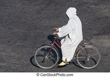 摩洛哥人, 人, 上, 自行車, 在, marrakesh, 摩洛哥