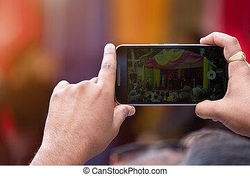 撃つ, smartphone, ビデオ, 人