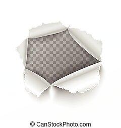 撕破, 洞, 在, 白色的圖表, ......的, 紙
