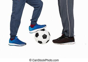 播種的 射擊, ......的, 父親, 由于, 兒子, 玩足球, 被隔离, 在懷特上