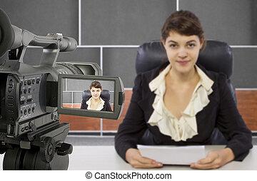 撮影, 女性, レポーター