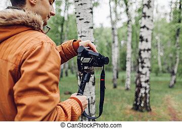 撮影, 春, steadicam, 使うこと, カメラ男, footage., ビデオ, 作りなさい, forest...