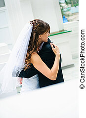 擁抱, 婚禮, 夫婦。, 新娘和新郎
