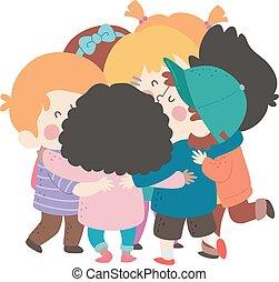 擁抱, 組, 插圖, 孩子