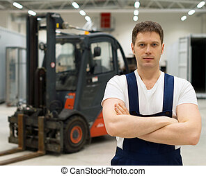 操作員, 漂亮, 鏟車, warehouse.