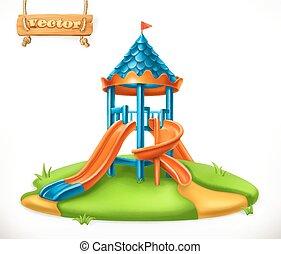 操场, slide., 表演区域, 为, 孩子, 3d, 矢量, 图标