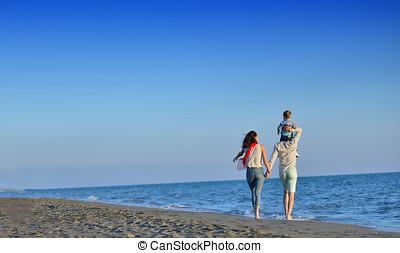 操業, 家族, 若い, ジャンプ, 日没, 楽しい時を 過しなさい, 浜, 幸せ
