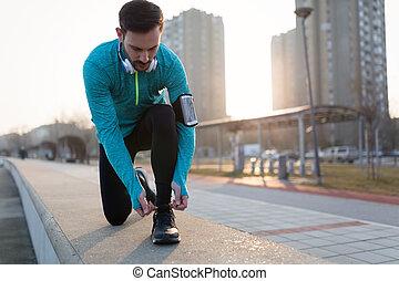 操業, 靴, 得ること, ランナー, 動くこと, 準備ができた, つらい
