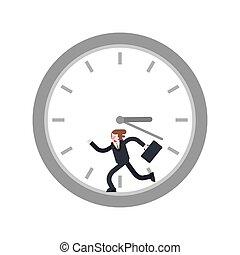 操業, time?, 操業, 中, clock., 離れて, 人