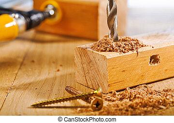操練, ......的, 木製的板