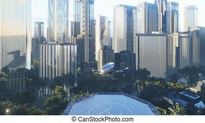 操縦された, taxi., 持つ, レンダリング, 空気, 乗客, unmanned, 曇り, の上, ∥そ∥, 一突き, 無人機, day., 3d