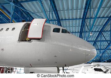 操縦室, hangar., 航空機, 維持, 鼻