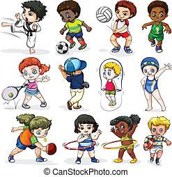 擔保, 活動, 不同, 孩子體育運動