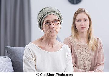 擔心, 有病, 更老 的婦女, 由于, 癌症