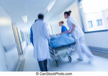 擔架, 病人, 緊急事件, 醫院, 運動變模糊, 輪床