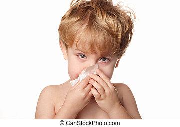 擦去, 他的, 鼻子, 患病的孩子