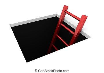 攀登, 在外, ......的, the, 洞, -, 晴朗, 紅色, 梯子