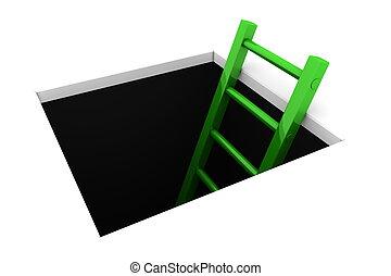 攀登, 在外, ......的, the, 洞, -, 晴朗, 綠色, 梯子