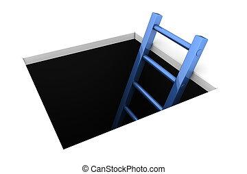 攀登, 在外, ......的, the, 洞, -, 晴朗, 藍色, 梯子