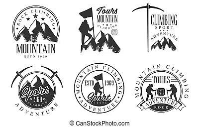 攀登, 山, 冒險, 岩石, 插圖, 標識語, retro, 徽章, 運動, 單色, 矢量, 集合