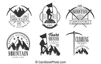 攀登, 山, 岩石, 插圖, 標識語, retro, 徽章, 運動, 冒險, 單色, 矢量, 集合