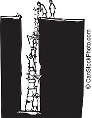 攀登, 洞, 在外