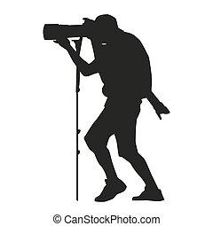 攝影師, 由于, a, 照像機, 上, a, monopod, 也, 由于, a, 傳真照片, lens., 矢量,...