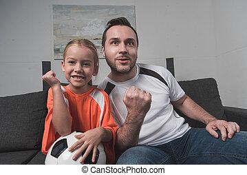 支えられた, 父, フットボール, 娘, チーム