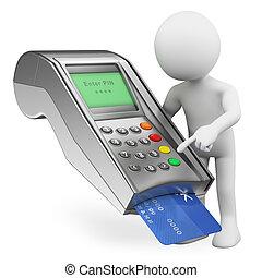 支付, 人们。, 终端, 信用卡, 白色, 银行, 3d