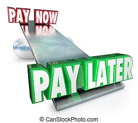 支付, 現在, vs, later, 延遲, 付款, 借用, 信用, installment, 計劃